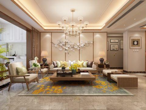 客厅米色沙发新中式风格效果图