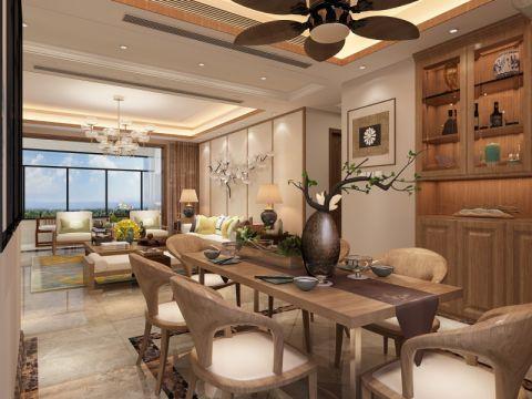 餐厅米色博古架新中式风格装饰效果图