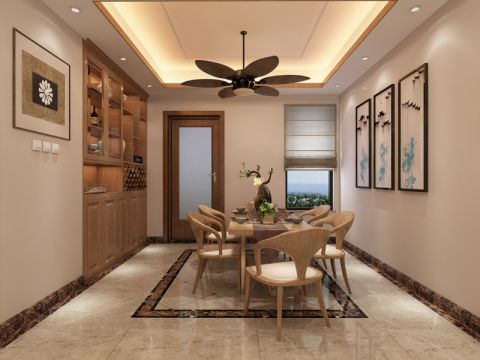 餐厅米色餐桌新中式风格装潢效果图