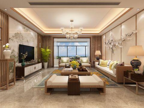 客厅米色窗帘新中式风格装修图片