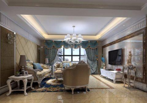 客厅咖啡色背景墙简欧风格装饰效果图