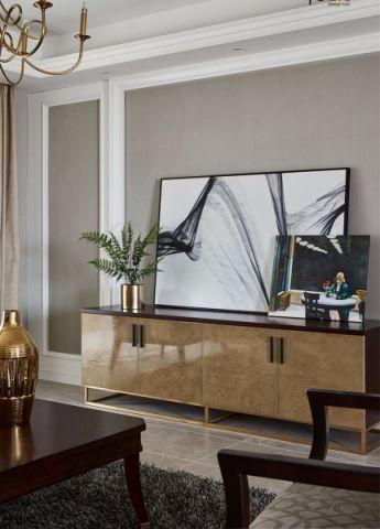 客厅咖啡色背景墙美式风格装饰设计图片