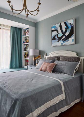 卧室蓝色床美式风格效果图