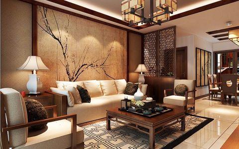 90平米中式风格二居室装修效果图