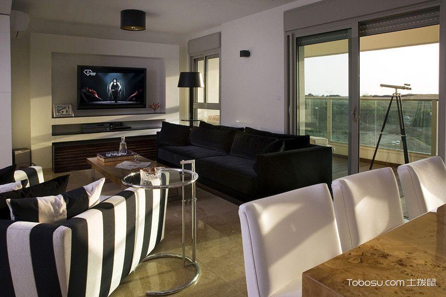 客厅黑色沙发现代风格装潢设计图片