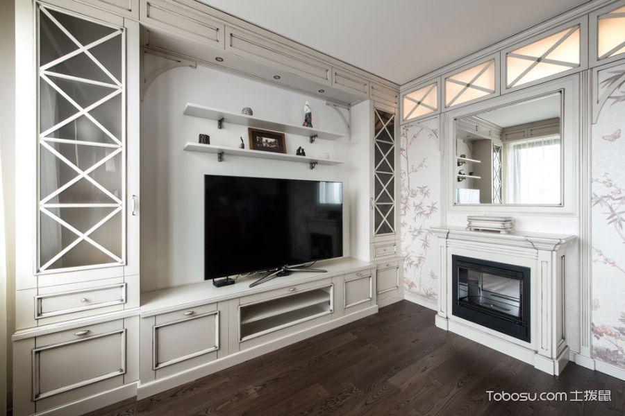 客厅白色电视柜美式风格装饰设计图片