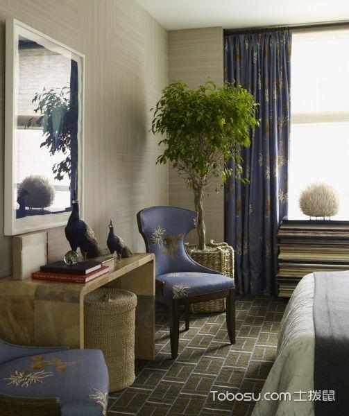 卧室绿色窗帘混搭风格装饰图片