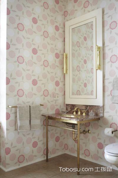 浴室黄色洗漱台混搭风格装潢效果图