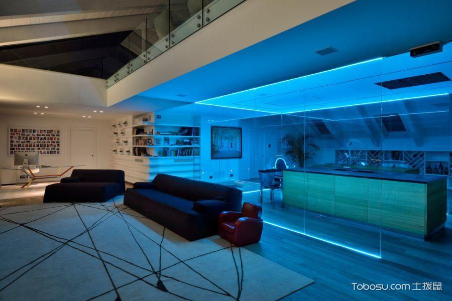 客厅白色隔断混搭风格装修设计图片