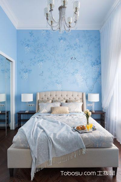 卧室蓝色背景墙美式风格装饰设计图片