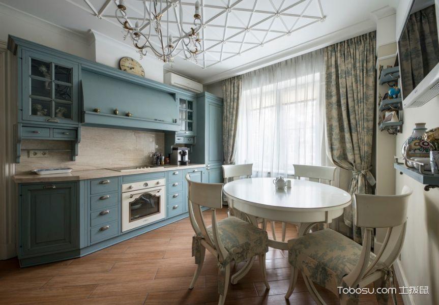 厨房蓝色橱柜美式风格装修图片