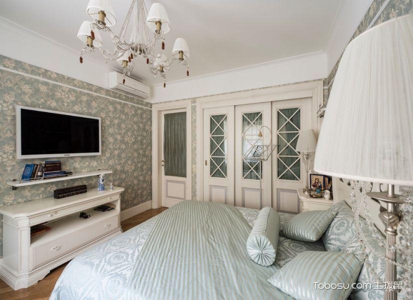 卧室白色电视柜美式风格装潢图片