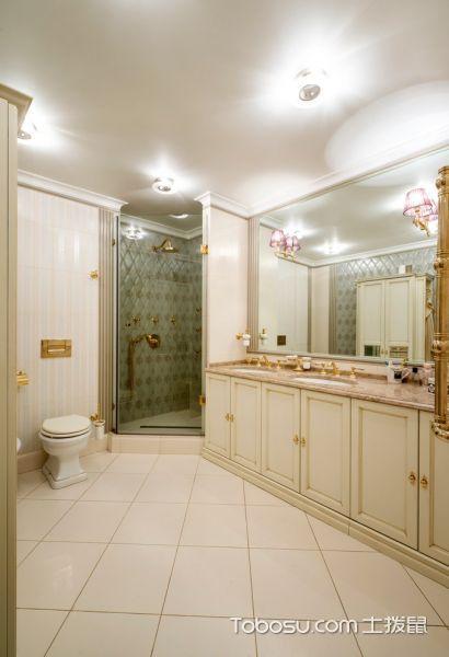 卫生间米色地砖美式风格装潢设计图片