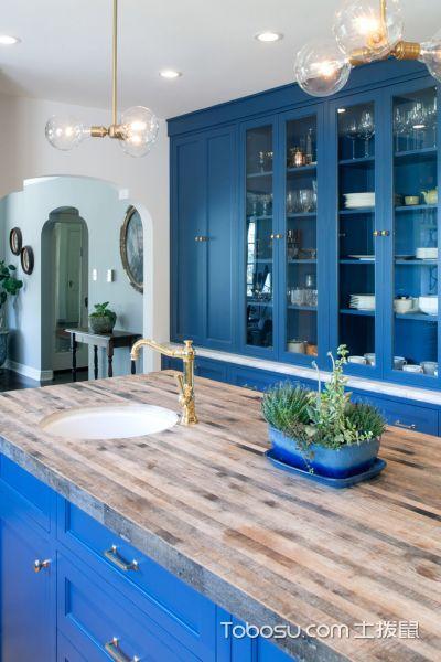 厨房蓝色橱柜地中海风格装饰效果图