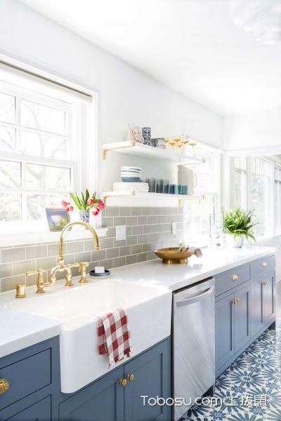 厨房蓝色橱柜美式风格装潢图片