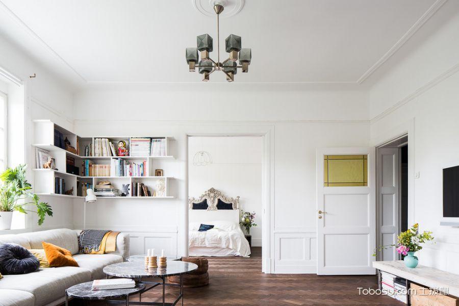 客厅白色隔断北欧风格装修设计图片