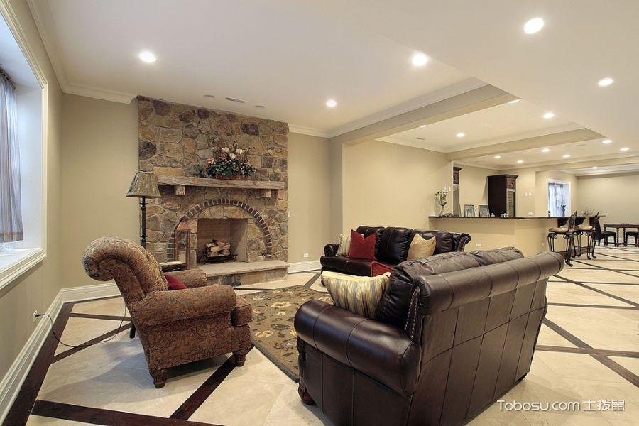 客厅米色地砖美式风格装潢效果图
