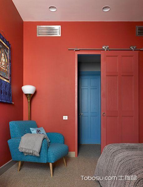 卧室蓝色沙发混搭风格装潢效果图