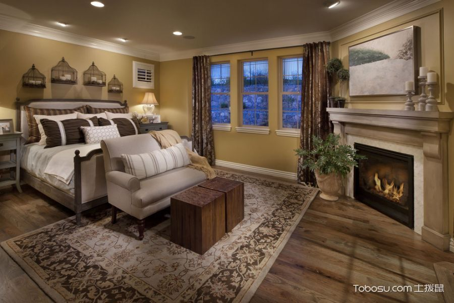 卧室灰色地板砖地中海风格装修图片
