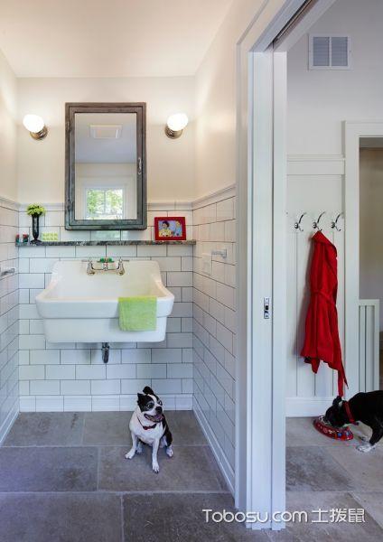 卫生间白色洗漱台美式风格效果图