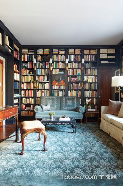书房黑色书架混搭风格装饰图片