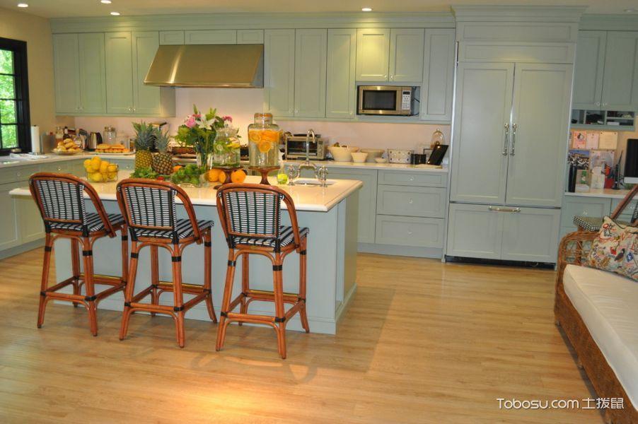 厨房蓝色橱柜美式风格装潢效果图