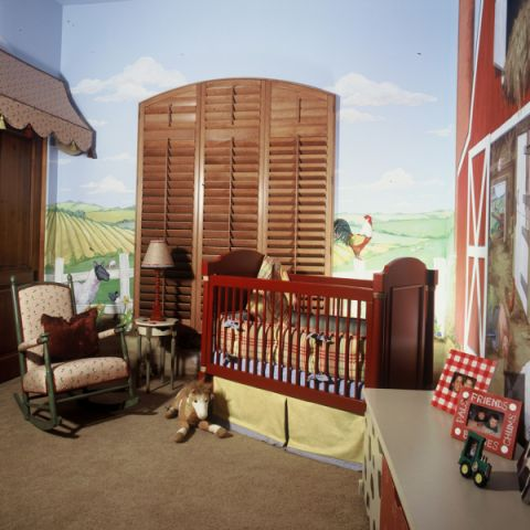 儿童房背景墙混搭风格装修效果图