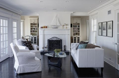 客厅推拉门美式风格装潢效果图