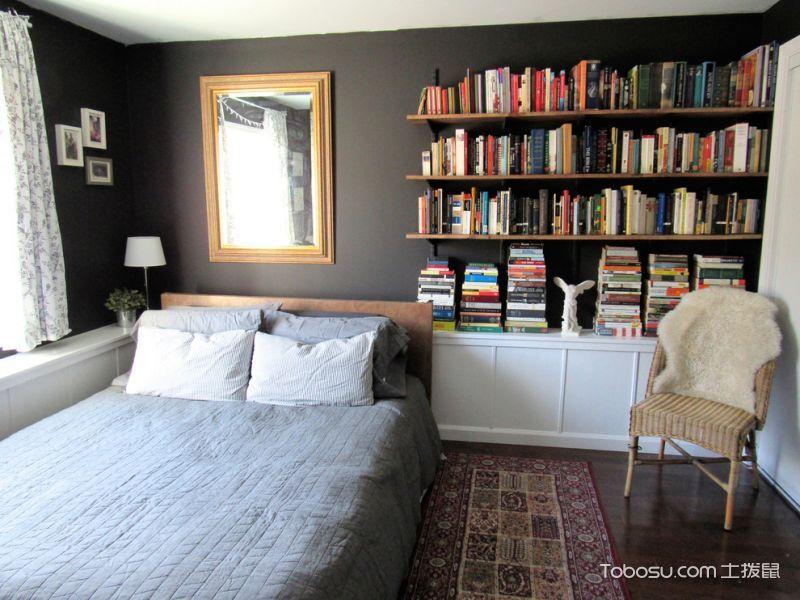 卧室黑色背景墙混搭风格装潢效果图