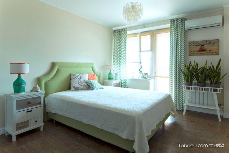 卧室绿色窗帘美式风格装饰效果图