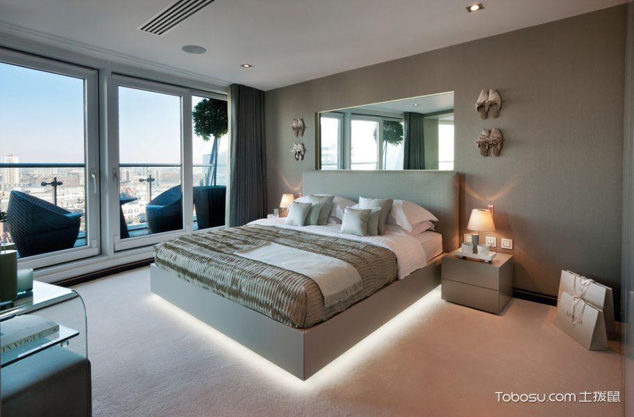 卧室灰色窗帘现代风格装修设计图片
