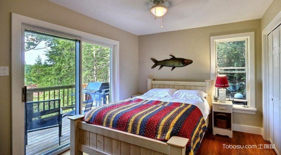 卧室咖啡色推拉门美式风格装修设计图片