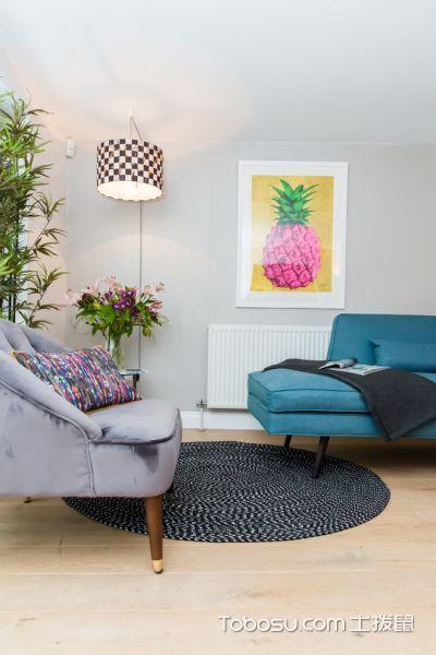 客厅米色地板砖混搭风格装修设计图片