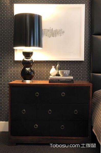 卧室黑色床头柜现代风格装潢设计图片