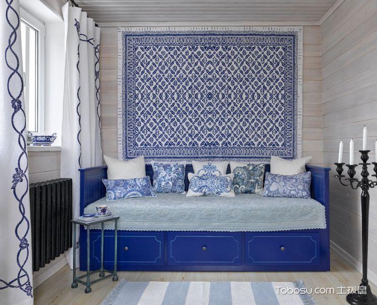 书房蓝色沙发混搭风格装修设计图片