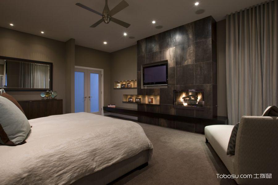 卧室黑色背景墙现代风格装潢效果图