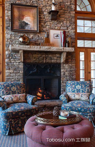 客厅蓝色沙发美式风格装潢设计图片