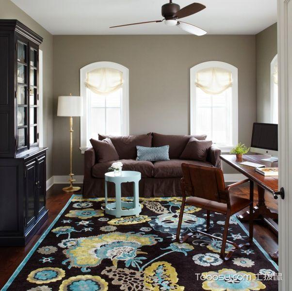 书房咖啡色沙发美式风格装修图片