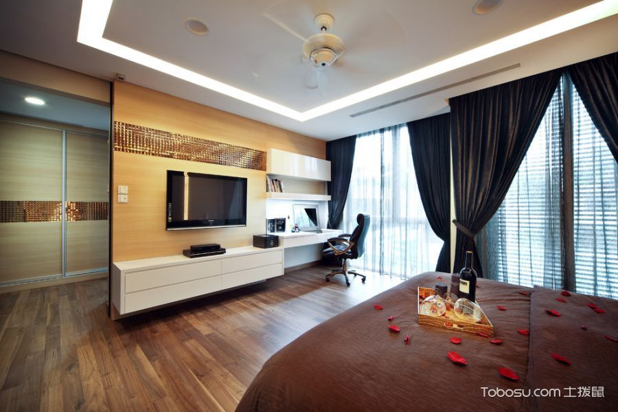 卧室白色电视柜现代风格装饰图片