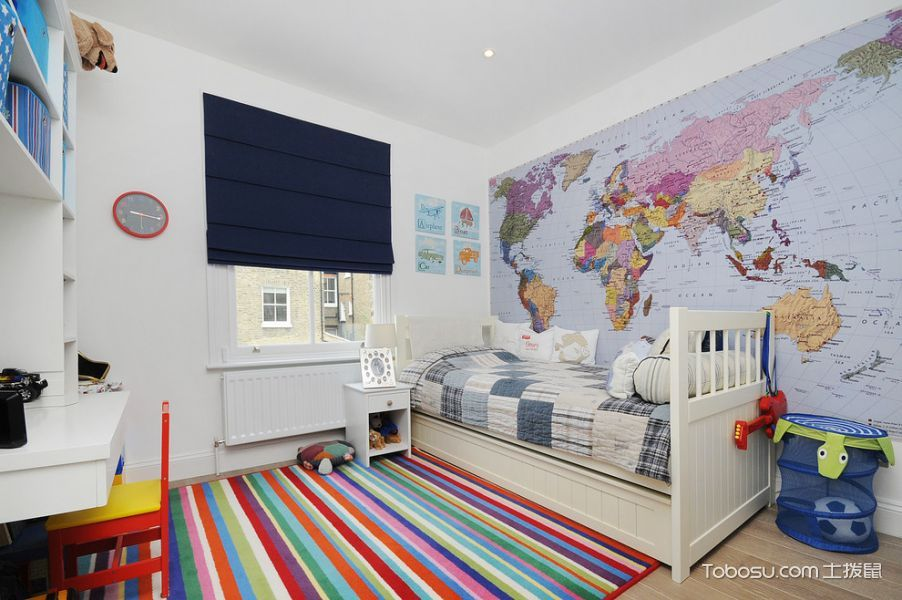 儿童房蓝色窗帘现代风格装修设计图片