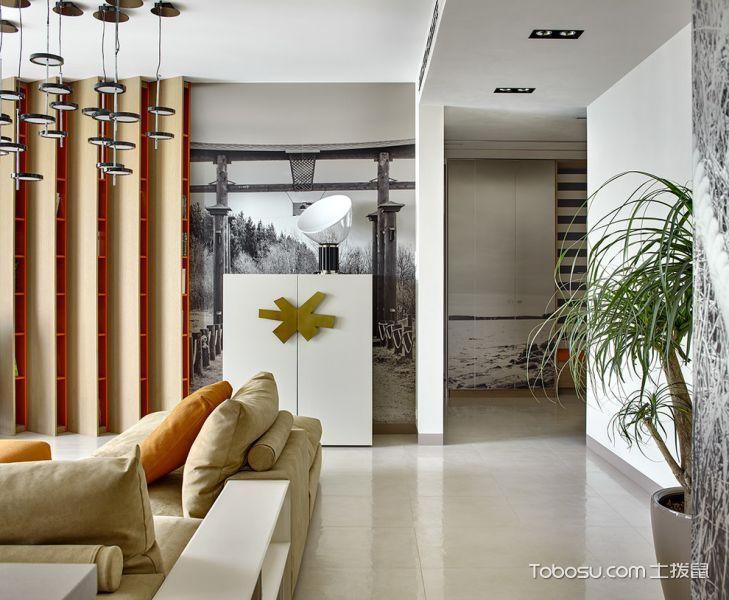客厅白色地砖现代风格装饰设计图片