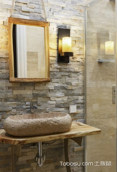 浴室黄色洗漱台混搭风格装修设计图片