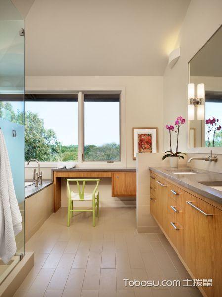 浴室黄色洗漱台现代风格装修设计图片
