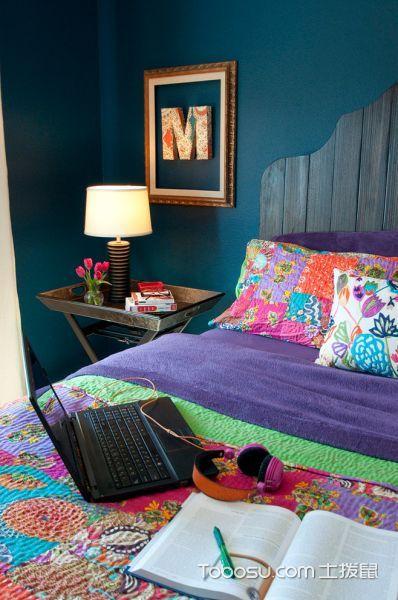 卧室蓝色背景墙混搭风格装潢设计图片