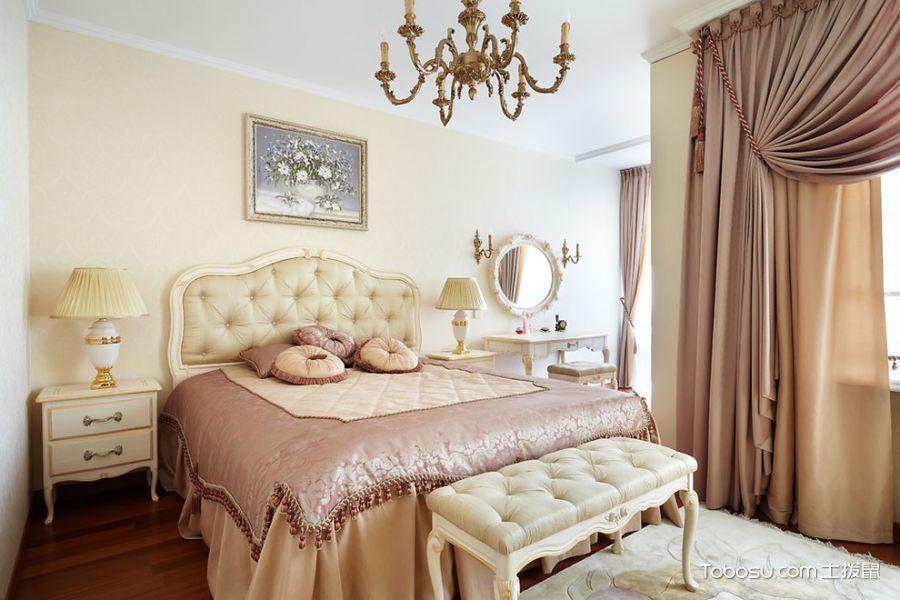 卧室粉色窗帘美式风格装饰设计图片