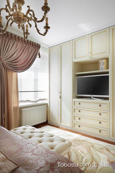 卧室粉色窗帘美式风格装潢设计图片