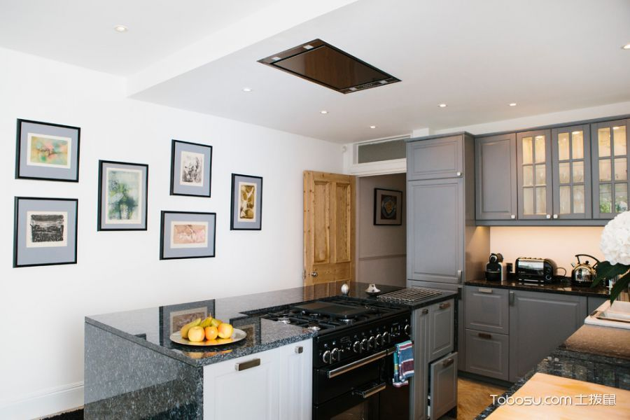厨房灰色橱柜美式风格装修图片