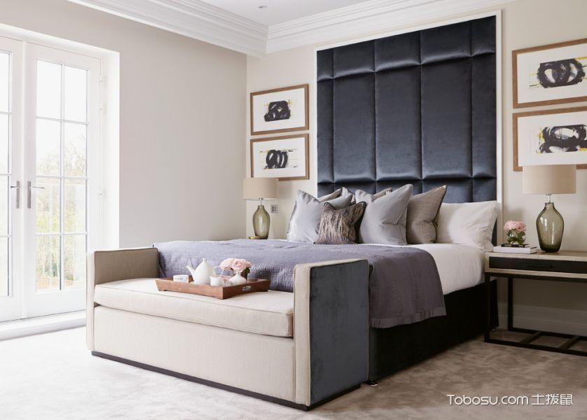 卧室黑色床现代风格装饰图片