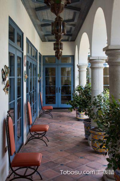 阳台红色地砖地中海风格装潢设计图片