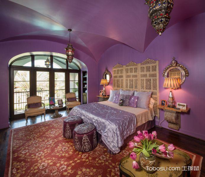 卧室紫色背景墙地中海风格装潢效果图